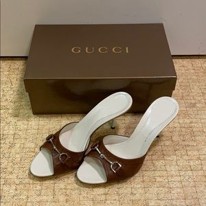 (new) Gucci guccissima leather heeled slide sandal